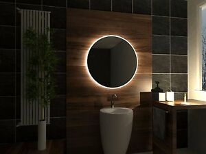 Led illuminated bathroom mirror delhi 80x80 cm modern for Miroir 80x80