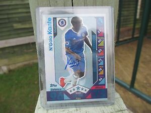 Match Attax 16/17 PLE4 N'Golo Kante PLATINUM Limited Edition HOLOGRAM Signed!!