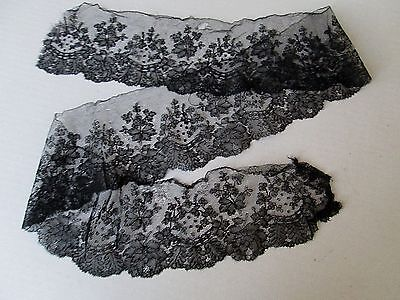 """ANTIQUE FRENCH CHANTILLY BLACK LACE TRIM/EDGING. 49"""" x 4 1/2"""""""