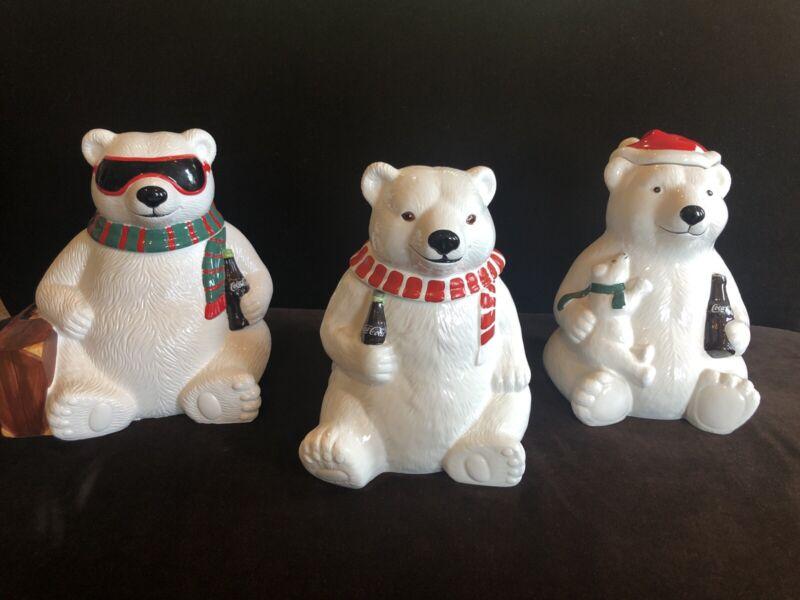 Set Of 3 Coca Cola Polar Bear Coke Cookie Jars Vase