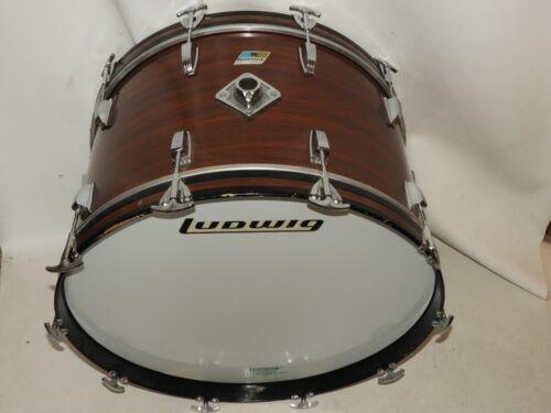 "Vintage Ludwig 14 x 24"" Mahogany Cortex Drum Kit Bass Drum Blue Olive # 1292998"