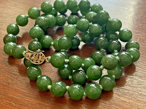 """Vintage Dark Green Jade Knotted 8mm Bead Necklace 24"""" Long - Silver Gold Plate"""