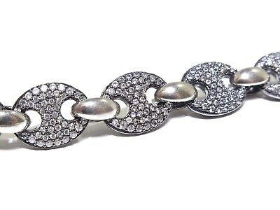 Silver .925 Black Rhodium Gucci Puff Link W/ White Cz Bracelet 22.3g