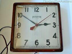 E. Ingraham Company Wood Framed Wall Curved Glass Clock Great Look To Be Rewired