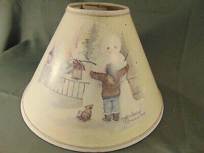 """Vtg Pat Richter Snowman Love lamp shade 7"""" h x 12"""" x 4"""" muted winter snow art"""