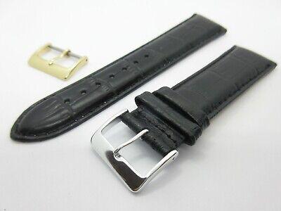 Cocodrilo Negro Grano 22mm Correa de Reloj Con Oro y Plata Hebillas