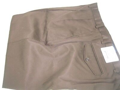 NWT Lands End Mens Pleated Front Traditional Fit Brown Dress Pants Sz 50W X 26.5