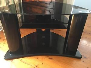 Black glass & stainless steel entertainment TV unit Willoughby Willoughby Area Preview