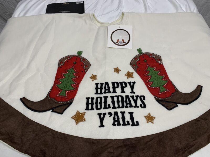 Cowboy Boots Christmas Tree Skirt Hobby Lobby NWT