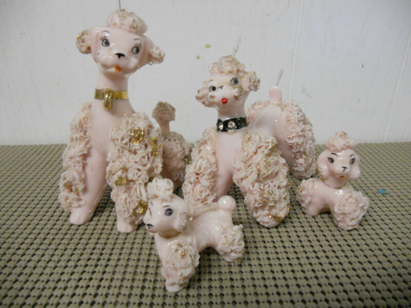 Vintage Spaghetti Trim PINK Poodle Family Set of 4 Japan