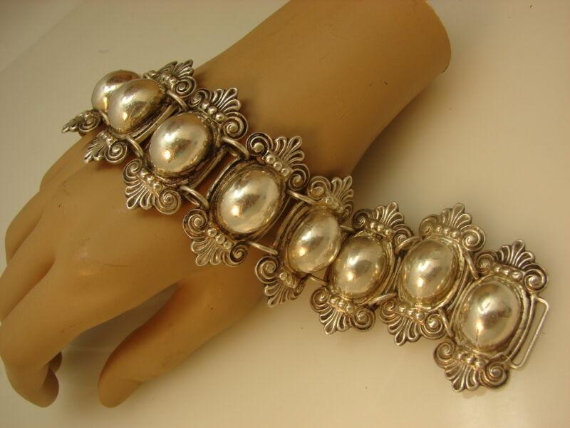Vintage Massive Wide Mexican Silver Ornate Coffee Bean Link Bracelet 96 Grams