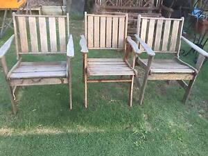3 Old Timber Outdoor Armchairs Beckenham Gosnells Area Preview
