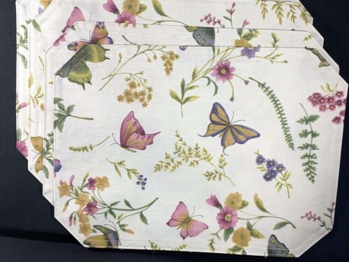Vtg Lot of 4 Placemats Floral Greenery Butterfly Butterflies Ivory Pink Purple