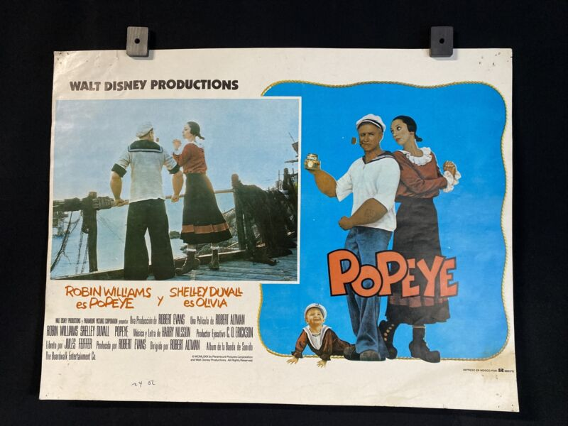 DISNEY 1980 POPEYE~ Robin Williams~Shelley Duvall~ Original MX Lobby Card Poster