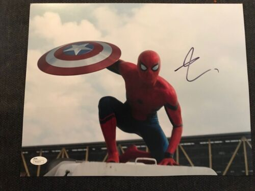 Spiderman Civil War Tom Holland Autographed Signed 11x14 Photo JSA COA #6