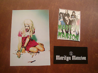 MARILYN MANSON VTG GROUP POSTCARD TWIGGY PHOTO AND STICKER RARE