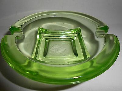Green Vaseline glass salt dip cellar celt bowl candy uranium ashtray / cambridge