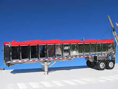 DCP 1/64 SCALE EAST END DUMP TRAILER WITH CHROME SIDES SILVER FRAME RED TARP 3