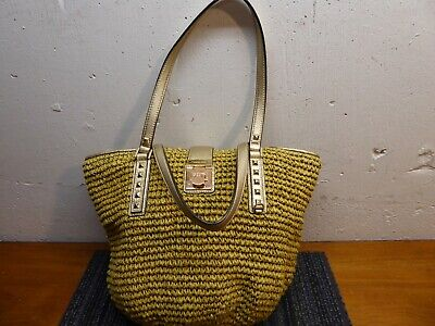 MICHAEL KORS Large Straw Tote Bag Natural Straw Brown Leather Shopper Gold Studs