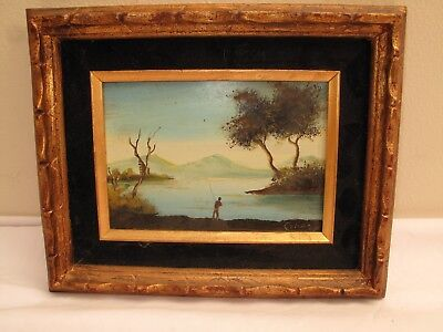 VTG ANTIQUE OIL ON BOARD MINIATURE PAINTING MAN FISHING LAKE SCENE  BLUE SIGNED