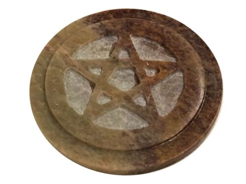 "Soapstone Pentacle Altar Tile 3""Diameter"