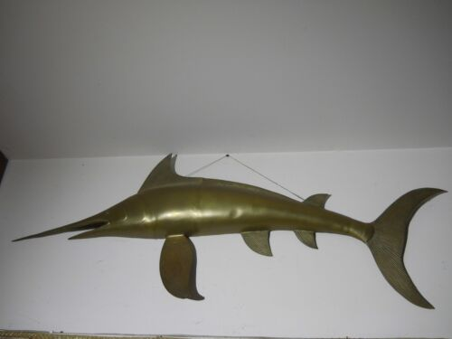 Vintage Brass MARLIN Wall Sculpture - Extra Large 4
