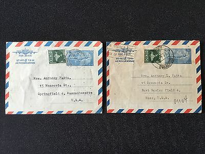 2 Lot 1960's India to US Cover Stamp Air Mail Letter Aerogramme