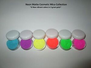 Set of 6 Neon matte cosmetic mica powders in 3 gr pots  #2