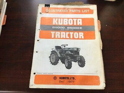 Kubota B6000 B6000e Tractor Illustrated Parts List