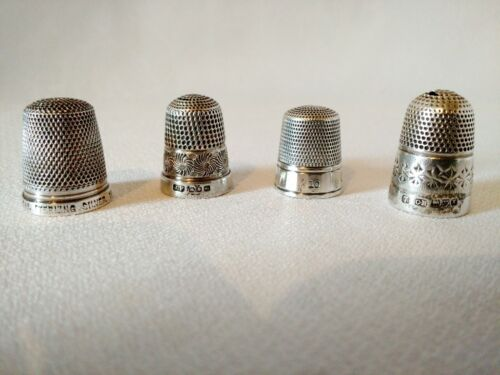 Antique 4 Sterling Silver Thimbles – 1892 Up