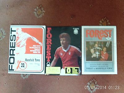 3 X  NOTTINGHAM FOREST V MANSFIELD TOWN PROGRAMMES (COUNTY CUP FINALS 1984-1990)