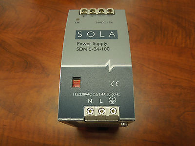 Sola Power Supply Sdn 5-24-100 115230v Input 24vdc Output Used