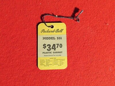 Used, 1948 Packard Bell Model 551  hanging descriptive price tag radio for sale  Santa Rosa