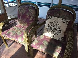 4 Plastic Wicker Arm Chairs For Sale!