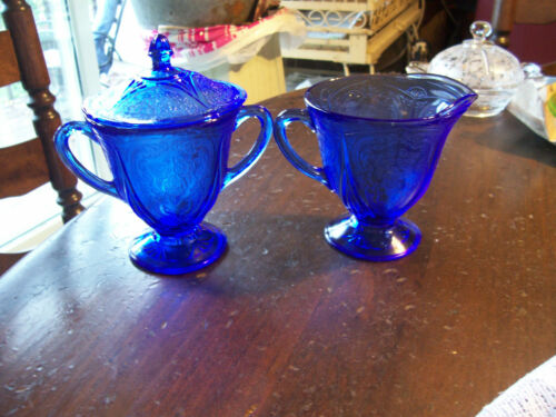 Royal Lace cobalt blue sugar with lid and creamer