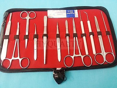 12 Pc Student Dissecting Dissection Medical Lab Instruments Kit Set5 Blades 20
