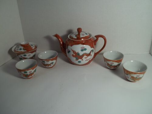 Vintage Red Dragon Phoenix Porcelain Teapot, 4 cups, and a Sugar Bowl with Lid