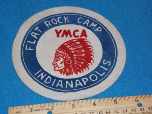 VINTAGE - 1950s YMCA FELT PATCH - FLAT ROCK CAMP INDIANAPOLIS,INDIANA - 6 INCH