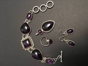 Silver and amethyst jewelry set Unley Unley Area Preview