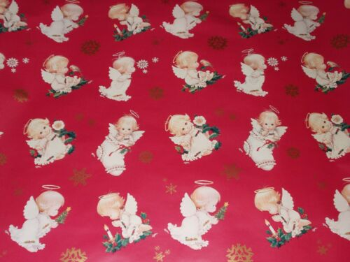 VTG CHRISTMAS WRAPPING PAPER GIFT WRAP NOS ADORABLE ANGEL WITH HALO SO CUTE