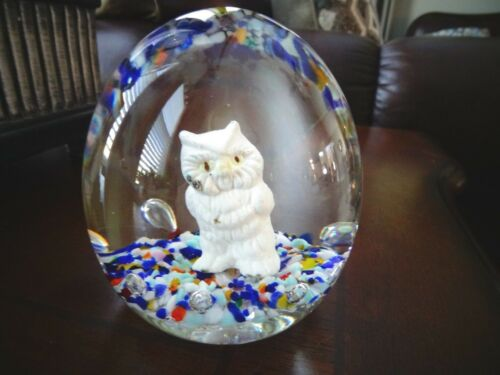 """1985 Gibson Art Glass SULFIDE OWL Paperweight Large 3.25"""" Tall x 3"""""""