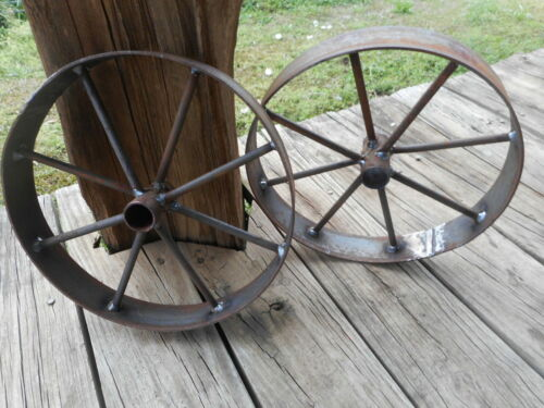 "2) 12"" steel ornamental Iron Wagon Wheel western rustic art cart Barbecue pit"