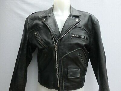 VINTAGE PARAGON LEATHER BIKER JACKET BLACK SIZE M VERY GOOD CONDITION!!!!!!