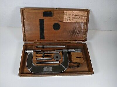 Vintage Lufkin 824a Micrometer 1-4 In Wood Box Machinist Tools Antique