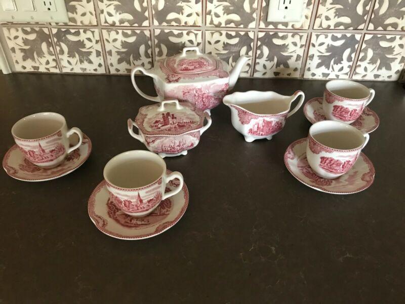 Antique Reproduction 13 Pcs. Johnson Bros. English Tea Set