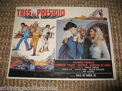 Tres de Presidio Movie Lobby Card Mexican Vintage 1980 Poster Drug Cartel Action