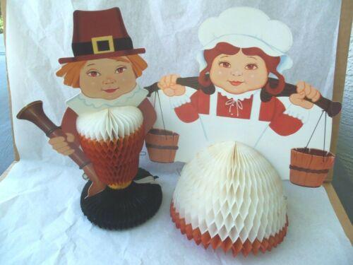 "Vtg Thanksgiving Pilgrim Girl Boy Honeycomb Centerpiece Decorations! 2! 11"" TALL"