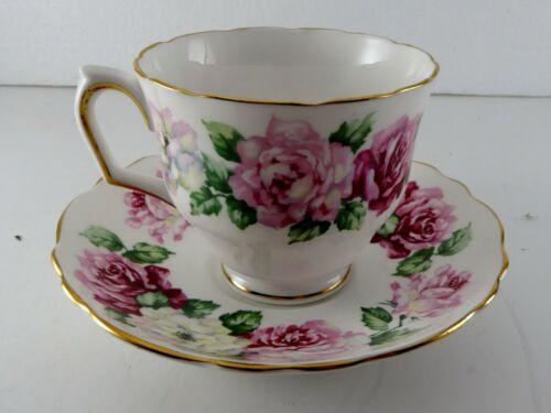 Crown Staffordshire TRINITY ROSE Pink Tea Cup & Saucer England Bone China