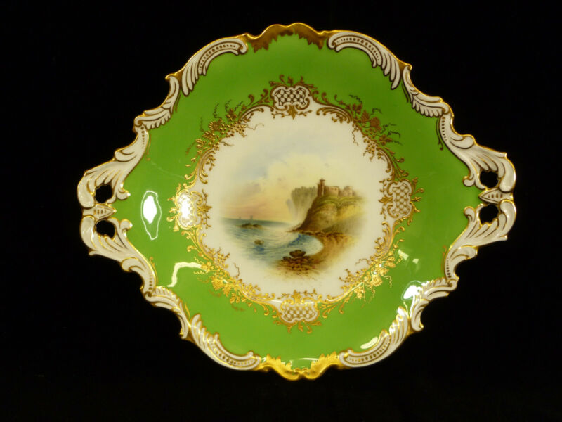 SIGNED COALPORT HAND PAINTED & GILT HANDLED BOWL – TANTALLON CASTLE – CIRCA 1905