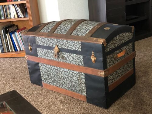 Antique Dome Lid Steamer Trunk